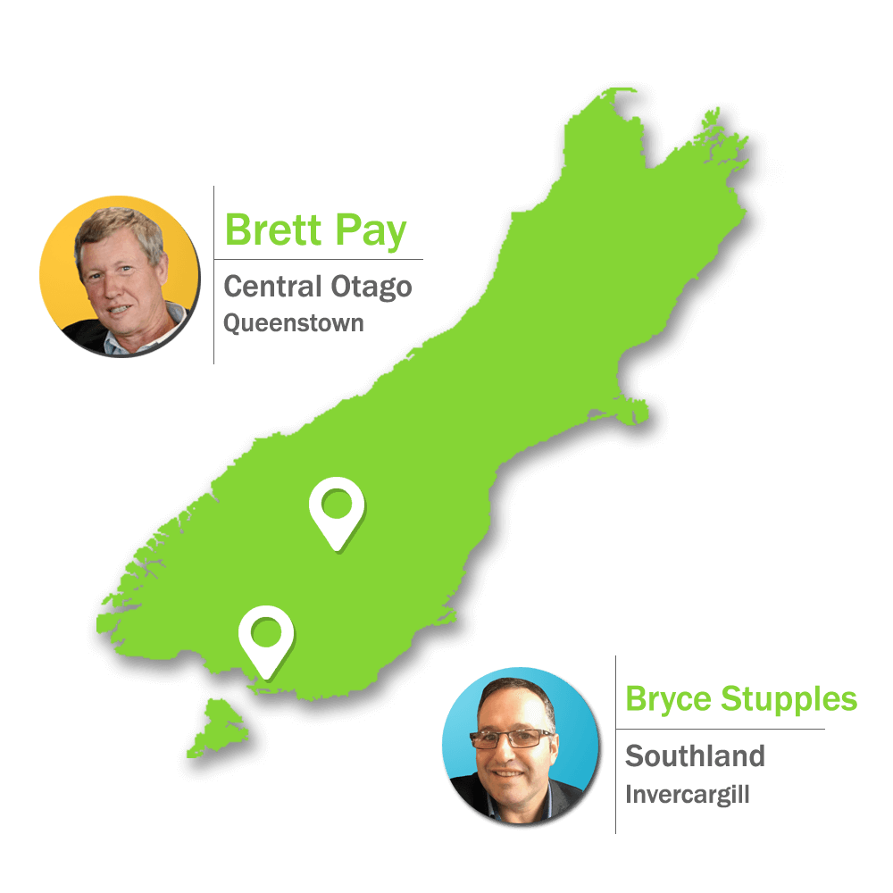 map of new zealand with Bryce in Southland and Brett in Central Otago for health and safety services